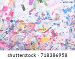 grunge acrylic hand painted on... | Shutterstock . vector #718386958