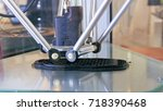 3d printer performs product... | Shutterstock . vector #718390468