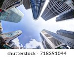 bottoms up view of business... | Shutterstock . vector #718391044