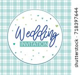 wedding invitation with hearts... | Shutterstock .eps vector #718397644
