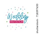 wedding invitation with green... | Shutterstock .eps vector #718397650