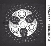 spinner vintage label  hand... | Shutterstock .eps vector #718398274