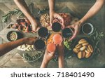 flat lay of friends eating and...   Shutterstock . vector #718401490