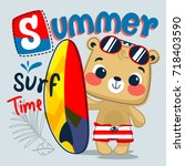 cartoon cute teddy bear wearing ... | Shutterstock .eps vector #718403590