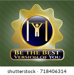 gold badge or emblem with pull ... | Shutterstock .eps vector #718406314