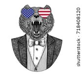 brown bear russian bear hipster ... | Shutterstock . vector #718408120