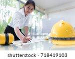 architecture women designer... | Shutterstock . vector #718419103