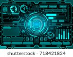 futuristic interface hud... | Shutterstock .eps vector #718421824