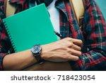 high school student in casual... | Shutterstock . vector #718423054
