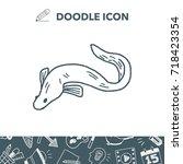 eel doodle | Shutterstock .eps vector #718423354