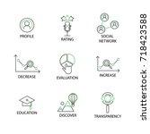 modern flat thin line icon set... | Shutterstock .eps vector #718423588