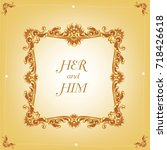 wedding invitation or card with ... | Shutterstock .eps vector #718426618