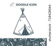 indians tent doodle | Shutterstock .eps vector #718428064