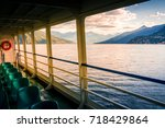 lake como  italy. people on a... | Shutterstock . vector #718429864
