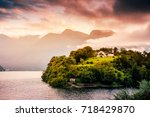 lake como  italy. people on a... | Shutterstock . vector #718429870