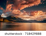 lake como  italy. people on a... | Shutterstock . vector #718429888