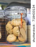 Small photo of Cookies in a clear crystal air-tight jar