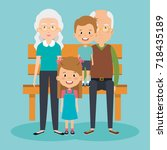 grandparents couple with... | Shutterstock .eps vector #718435189