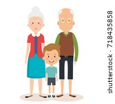 grandparents couple with... | Shutterstock .eps vector #718435858