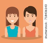girls couple avatars characters   Shutterstock .eps vector #718436143