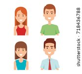 young people group avatars | Shutterstock .eps vector #718436788