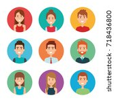 young people group avatars | Shutterstock .eps vector #718436800