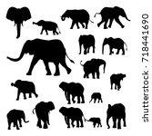 elephant silhouette in various... | Shutterstock .eps vector #718441690