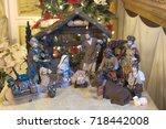 christmas nativity scene with... | Shutterstock . vector #718442008