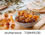 the view of a bowl of peach gum ... | Shutterstock . vector #718449130
