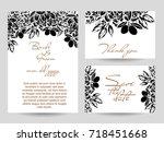 vintage delicate invitation... | Shutterstock . vector #718451668