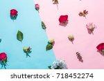 many beautiful flower on pink... | Shutterstock . vector #718452274