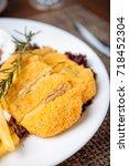 deliciou chicken steak with... | Shutterstock . vector #718452304