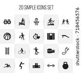 set of 20 editable healthy... | Shutterstock .eps vector #718456576