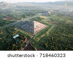 Aerial view of Teotihuacan, in the front the Sun´s Pyramid, at the back you can observe the Moon´s Pyramid.