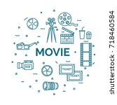 lettering of movie concept with ... | Shutterstock .eps vector #718460584
