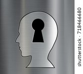 keyhole in the human head.... | Shutterstock .eps vector #718466680