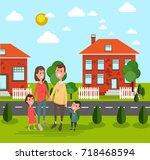 family  husband  wife  child... | Shutterstock .eps vector #718468594