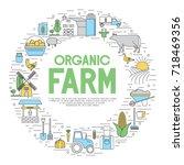 farming background. icon set.  | Shutterstock .eps vector #718469356
