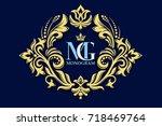 vector decorative frame.... | Shutterstock .eps vector #718469764