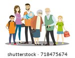 big cartoon family isolated on...   Shutterstock .eps vector #718475674