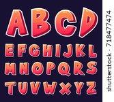vector 3d design alphabets set | Shutterstock .eps vector #718477474