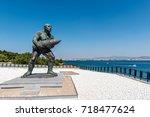 statue of famous turkish...   Shutterstock . vector #718477624