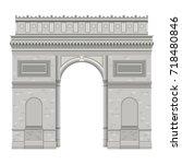 arch of triumph in paris...   Shutterstock .eps vector #718480846