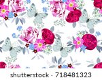 seamless pattern with bouquets... | Shutterstock .eps vector #718481323