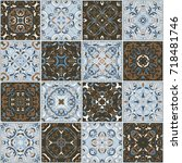 a collection of ceramic tiles...   Shutterstock .eps vector #718481746