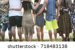 people standing together unity... | Shutterstock . vector #718483138