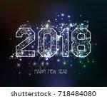 new years 2018 polygonal line... | Shutterstock .eps vector #718484080