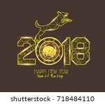 new years 2018 polygonal line... | Shutterstock .eps vector #718484110
