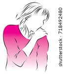 the woman has a shoulder pain....   Shutterstock .eps vector #718492480