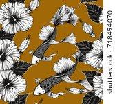 koi fish and hibiscus flower...   Shutterstock .eps vector #718494070